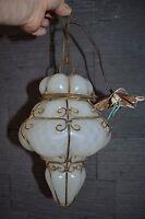 Superbe lampe vénitienne ancienne en verre opalescent blanc (suspension lustre)