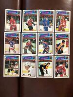 1988-89 Topps Hockey 12 Card All Star Set - Gretzky, Lemieux, Roy, Bourque Mint!