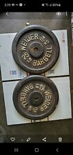 "2 VINTAGE WEIDER 25 Lb BARBELL WEIGHT PLATES STANDARD 1"" HOLE 50 POUNDS TOTAL"