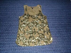 J. Crew Size 0 Army Green Sequin Tank Top Sparkle Shirt