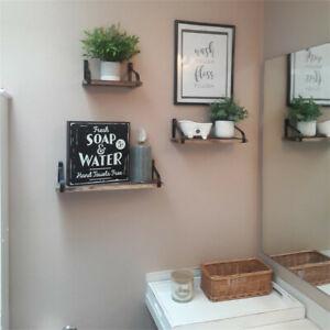 Set of 3 Industrial Floating Wall Shelves Storage Corner Hanging Display Shelf
