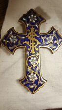 Croce ottone smaltata blu azzurra Francia Limoges cm. 8x6 enamel cross V2  ^