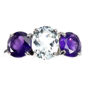 Unheated Oval Aquamarine Amethyst White Gold Plate 925 Sterling Silver Ring 9