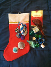 Cat Toy Mystery Stocking-Cat Toys in a Red Felt Xmas Stocking**BENEFITS RESCUE**