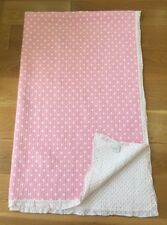 Zara Home Cotton Quilted Bed Throw Pink White Hearts 150 X 240 Cm