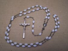 Rosary with White Plastic Beads - Mexico