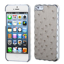 For iPhone 5S SE HARD Case Phone Cover Alloy Chrome Grey Ostrich Leather Plating