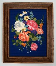 Vtg Floral Cross Stitch Needlepoint Embroidery Blue Pink Rose Framed Picture