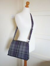 Tartan Messenger bag Purple & Grey Cross body Bag handmade plaid