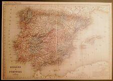 ESPAÑA, mapa. Espagne et Portugal. Dessuissons,   1881.