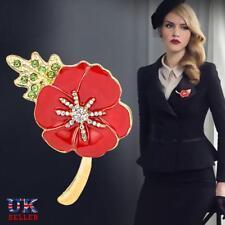 Mujeres rojo amapola broche PIN cristal esmalte insignias amapolas hojas verdes