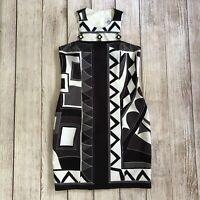 Linda Segal Vintage Geometric Dress - Size 6 - Black White Gray Fitted Sheath