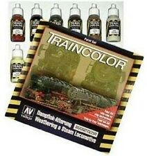 VALLEJO VAL73099 Train Railway ColorS Weathering Set 9 colours,2 brush & palet