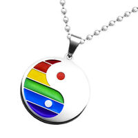 1 Stück Unisex Halskette Mit Anhänger LGBT Regenbogen Runde Anhänger 50 cm