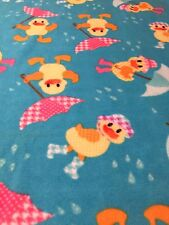 Ducks Fleece Fabric Single 2 Yard Piece No Sew Blanket Crafts Umbrella Nursery