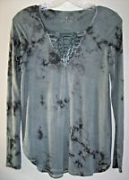 American Eagle Soft & Sexy Tee Shirt Women XS Gray Tie-Dye Laced-Up V-Neck Top