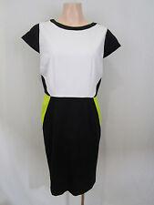 Jane Lamerton Size 12 Stretchy Interlock Dress | Black, Lime & White