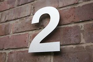 MODERN HOUSE NUMBER  BRUSHED METAL HIDDEN FIXINGS 4,6,8,10,12 INCH