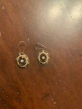 Antique Gold And Black Drop Earrings