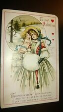 """Antique  """" MY VALENTINE""""  Post Card -  Embossed.Signed. 1914"""