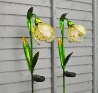 Solar Powered Glass Snowdrop Lights LED Garden Flower 2 x Stake Light Pack
