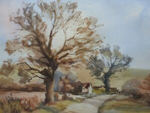WATERCOLOUR NEAR WARBLETON SUSSEX FREE SHIPPING TO ENGLAND