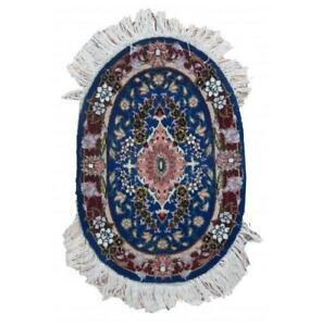 1x2 Authentic Handmade Wool & Silk Oval Rug PIX-22497