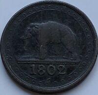 CEYLON SRI-LANKA COPPER 1/192 Rixdollar 1802 KM#73 Colonial British,Rare Coin VF