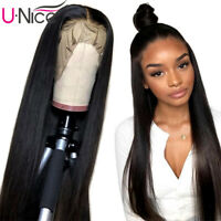 UNice Indian Full Lace Straight Human Hair Wig For Women Glueless Pre Plucked US