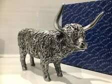 More details for large silver highland cow scottish farm gift figurine ornament figure
