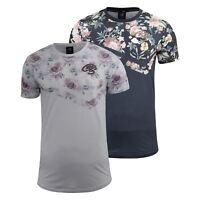 Mens T-Shirt Crosshatch Short Sleeved Rose Print Tee Top Swimson(,)