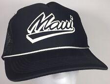24617d31757 Vintage Maui Hawaii Black Mesh SnapBack Bill Trucker Cap Hat NOS