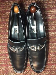Salvatore Ferragamo Mens Black Leather Classic Bit Loafer Shoes SZ 11