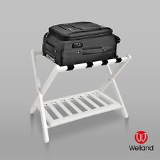 WELLAND Wood Folding Luggage Rack w/ Shelf Storage / Suitcase Shoes - White