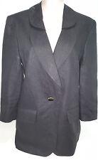 LOUIS FERAUD Womens 1 Button Front Suit Blazer Jacket Coat Sz 8 USA Black LINEN