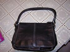 COACH Hamptons C06D-9570 Black Leather Flap Messenger CrossBody Handbag