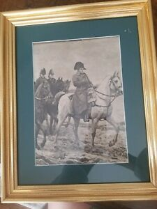 "Antique Original  Lithograph French Campaign Napoleon Bonaparte 16""x13"" Framed"
