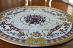 Dollhouse ROUND Classic French Theme Medallion Floral Miniature 1/12 Rug