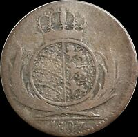 1807 German States (Wurttenberg) 6 Kreuzer, KM#495, Silver World Collectors Coin