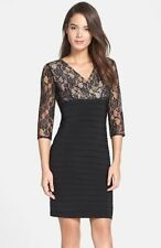 Adrianna Papell Black Lace Overlay Sleeve Banded Sheath Dress Size 6