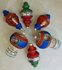 "Reflector Glass Tinsel Ornament Set 6 Blue Red Green Silver 4"" Vintage Inspired"