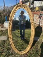Vtg ORNATE 1930-40's Full Length LG OVAL Beveled Mirror Barbola Wood Gold Frame
