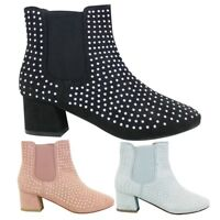 Ladies Womens Chelsea Studded Ankle Boots Cowboy Slip On Block Heel Size 3 - 9