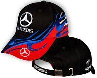 Mercedes Benz BLACK Red Baseball Cap 3D Embroidered Auto Car Logo Hat Mens Women