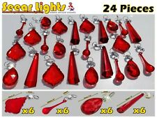 More details for 24 antique red chandelier crystals glass drops prisms beads light parts droplets