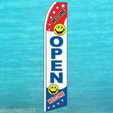 OPEN WELCOME FLUTTER FEATHER FLAG Swooper Advertising Sign Bow Banner