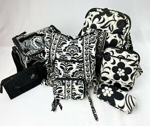 Vera Bradley White Black Backpack Crossbody Handbag Set-Lot of 7