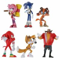 Sonic The Hedgehog Knuckles Tails 6 pcs Action Figure Model Kids Toy Cake Topper
