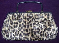 Women's Vintage Garay Faux Cheetah Fur Leather Handle Handbag Purse