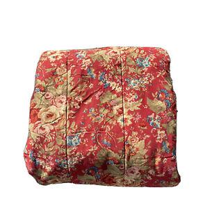 2 pc Ralph Lauren Chaps Summerton Red Floral Comforter & Sham Set ~ Queen